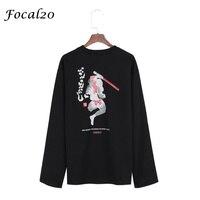 Focal20 Harajuku Japanese Character Print Women T Shirt Long Sleeve Samurai Print T Shirt Casual Loose