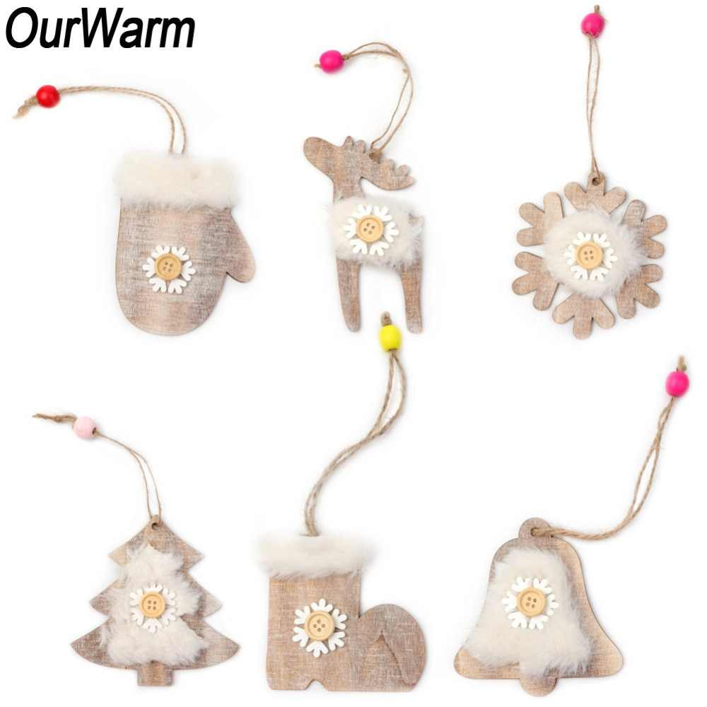 OurWarm 6Pcs Wooden Christmas Ornaments New Year Gift Faux Fur Snowflake Bell Deer Hanging Ornament Rustic Christmas Decorations