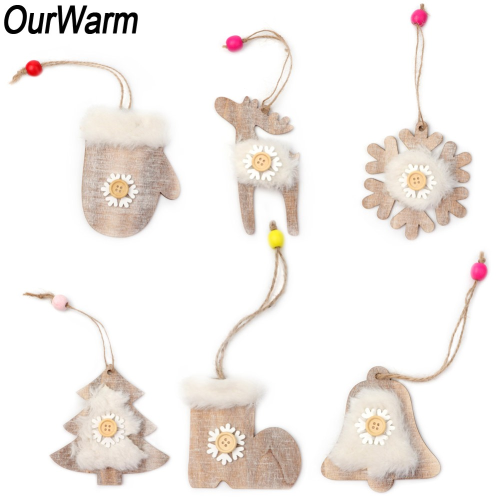 ourwarm 6pcs wooden christmas ornaments new year gift faux fur snowflake bell deer hanging ornament rustic christmas decorations - Rustic Christmas Decor For Sale