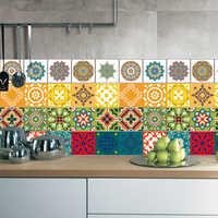 3D Mexican Style Seamless Stitching Tiles Floor Wall Sticker Kitchen Bathroom Waist Line Wall Decor Poster Art Mural Home Decor