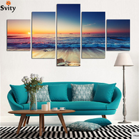 Framed ready to hang 5 Panel Modern Seacape Prints Landscape Canvas Painting Picture Wall Sunset Paintings For Living Room F1707