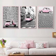 Nordic Pink Black and White Color Car Train Canvas Painting Landscape Art Wall Pictures for Living Room Home Decoration