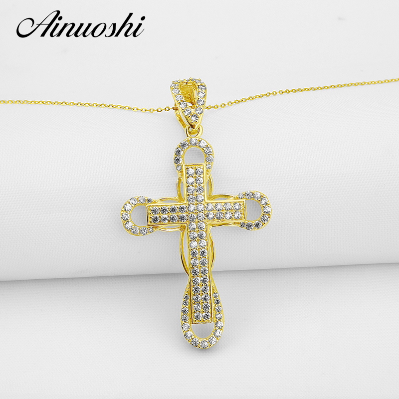 AINUOSHI 10k Solid Yellow Gold Women Cross Pendant Sona Simulated Diamond Hiphop Cross Pendant Jewelry 5g Trendy Cross Pendant cross cross ac028077 1