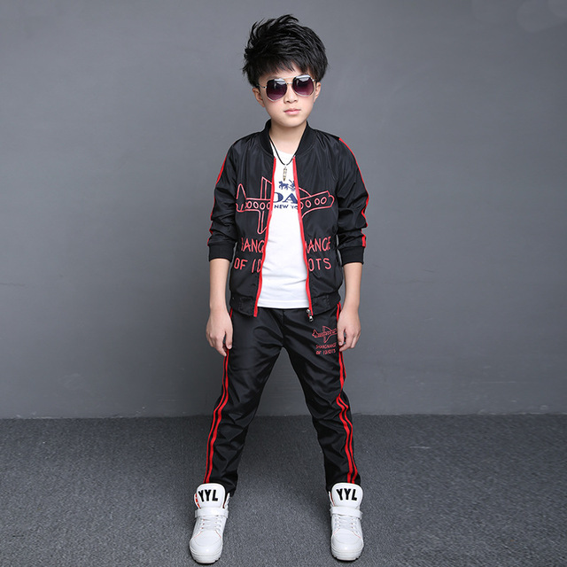2016 Teenage Boys' Clothing Set Kids Boys Sport Suits Set Spring Autumn Long Sleeve Top & Pants 2 pcs Outfits Boys Tracksuit