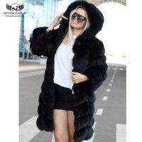 Tatyana Furclub Fur Coat Real Natural Fox Fur Coat With Hood Winter Long Jacket Fur Coats Women Outwear Slim Casual Hoodie Fur