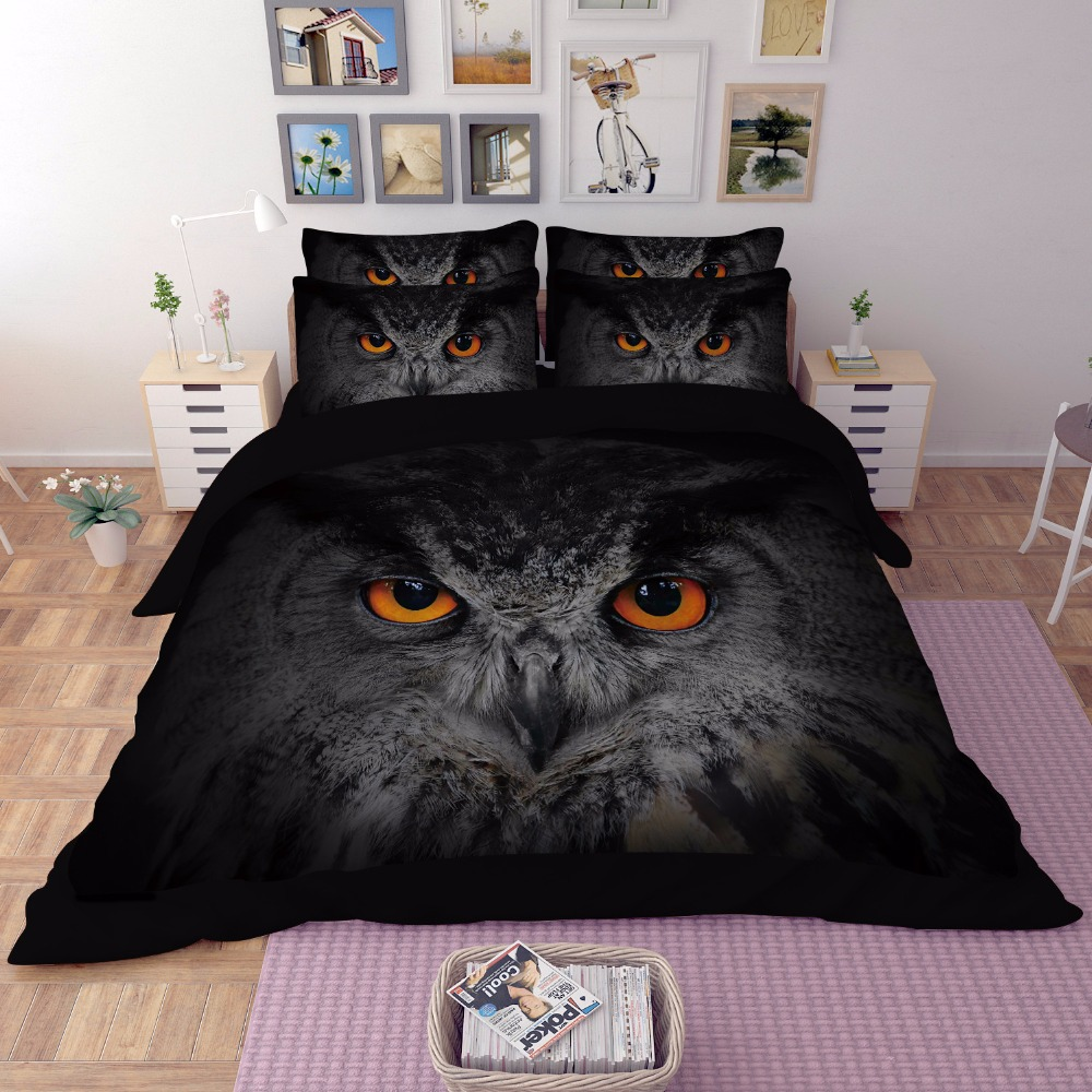Luxus Schwarz Eule Tiere 3D Bettwäsche sets Twin Königin König größe Doppel Einzigen Kinder Erwachsene Bett bettbezug set Bett blatt/bettwäsche set