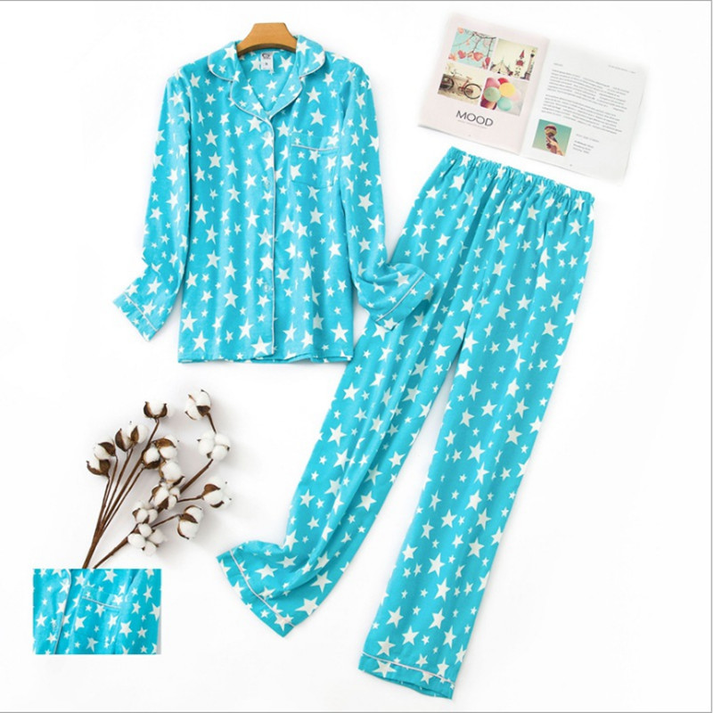 96d7f4e0a 2018 elegant Women's pajama sets blue color with cute cartoon stars printed  turn-down collar cotton sweet pajamas for ladies