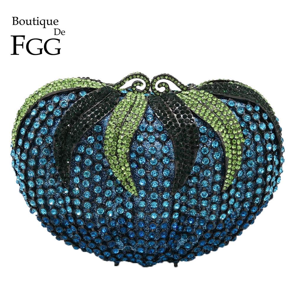 Boutique De FGG Women Diamond Strawberry Evening Clutch Bag Gala Dinner Metal Minaudiere Handbags and Purses
