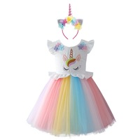 2pcs Baby Kid Girls Clothes Set Unicorn Rainbow Costume Princess Dress Headband Birthday Party Kids Dresses for Girls Outfit