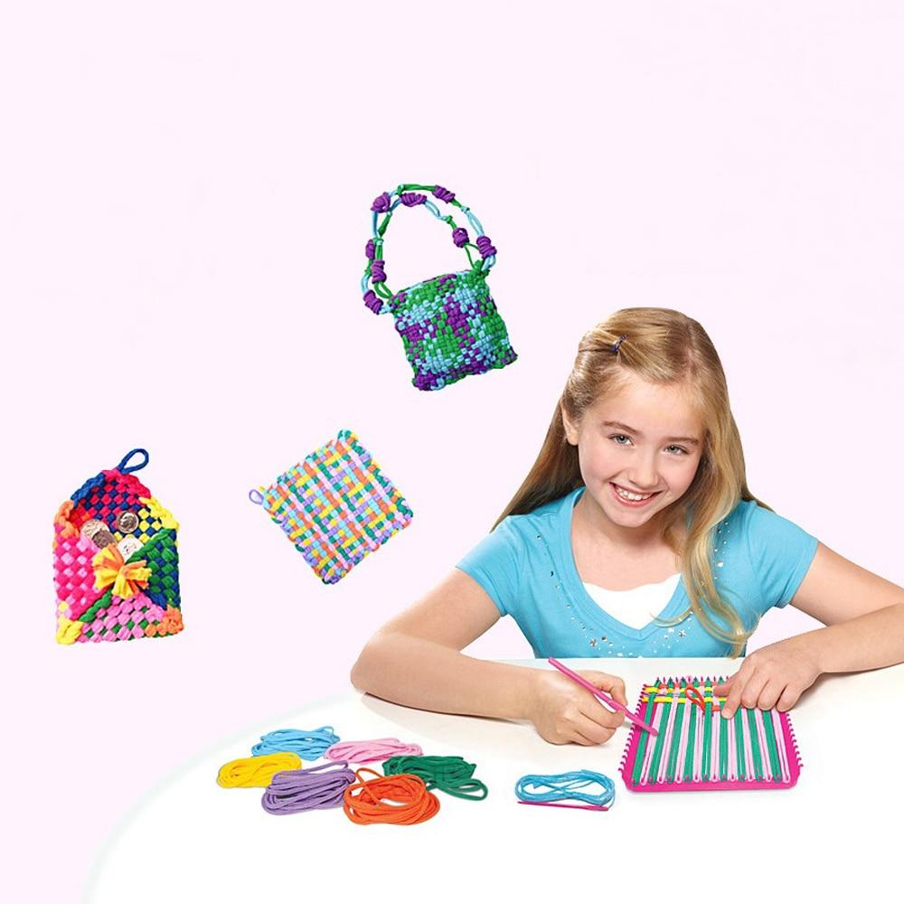 Kids Learning Educational Toys Knitting Machine Weaving Knit Loom for Bag Coaster DIY Manual Craft Tool