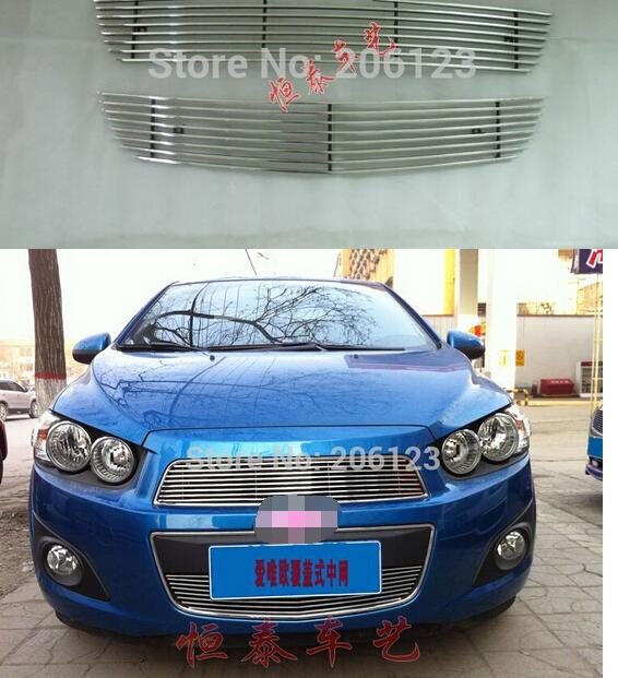 High quality stainless steel Front Grille Around Trim Racing Grills Trim For 2011 for Chevrolet  AVEO abs chrome front grille around trim racing grills trim for 2013 hyundai santa fe ix45