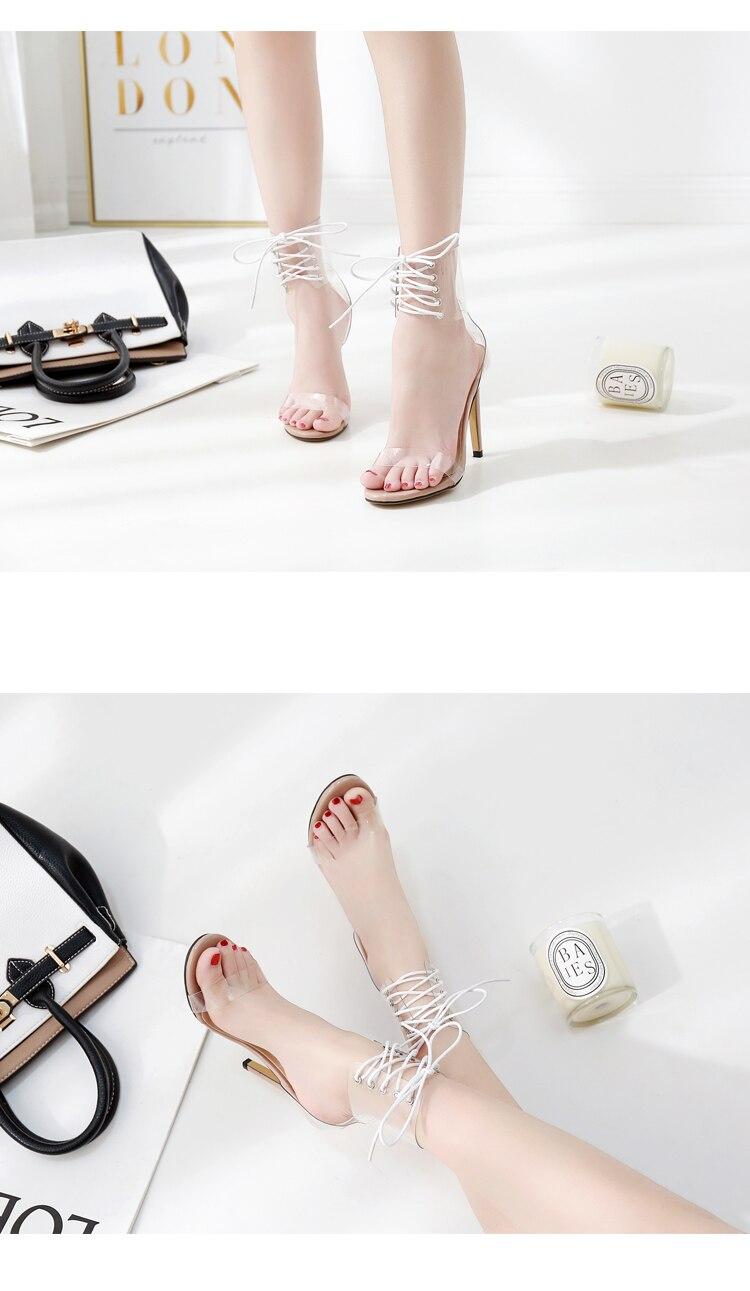 HTB1FW0SXhrvK1RjSszeq6yObFXaf Eilyken 2019 PVC Jelly Lace-Up Sandals Open Toed High Heels Sexy Women Transparent Heel Sandals Party Pumps 11CM Sales Promotion