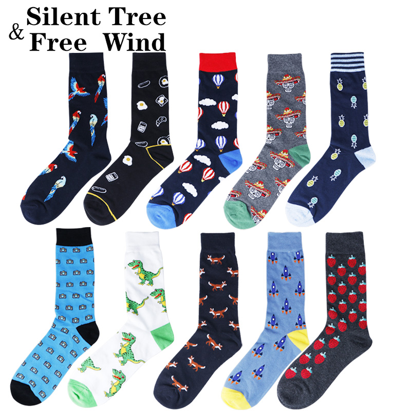 Funny Colorful Cotton Crew   Socks   Men's Novelty Balloon Dinosaur Parrot Skull Strawberry Pineapple Fox Rocket Wedding Gift   Sock