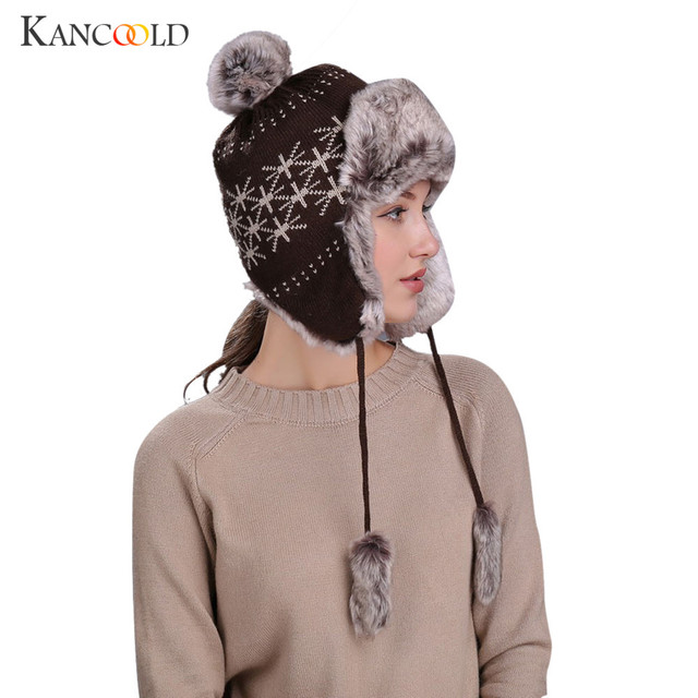 Warm male or female Winter Knitting Wool Hat with Ear Flaps Snow Ski Thick  Knit Wool Beanie Cap Hat Oct1930 3e08abdba9e