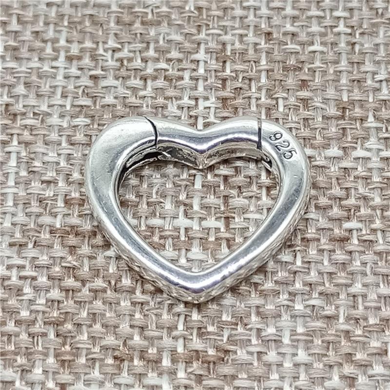 925 Sterling Silver Love Heart Lobster Clasp for Bracelet Necklace