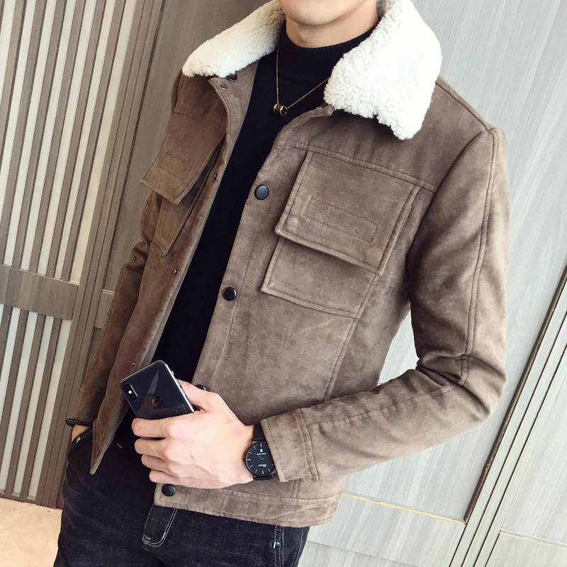 2019 New Winter Warmth Enthusiast Cotton-lined Suede Leather Jacket Faux Fur Collar Hood Men's Overcoats Extra-thick Coats