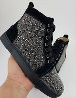 Spike Rivets Studded High Top Sneakers Round Toe Casual Men Shoes Luxury Design Lace Up Men
