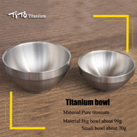 TiTo Titanium bowl Cookware Ultralight Double Wall Pure Titanium Bowl Picnic Camping Hiking Cookware Outdoor