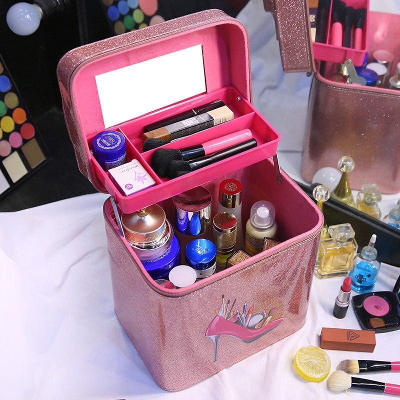 Shining PU Cosmetic Bag Portable Women Makeup Toiletry Bag Desktop Cosmetics Storage Box Lady Travel Beauty Kits Organizer