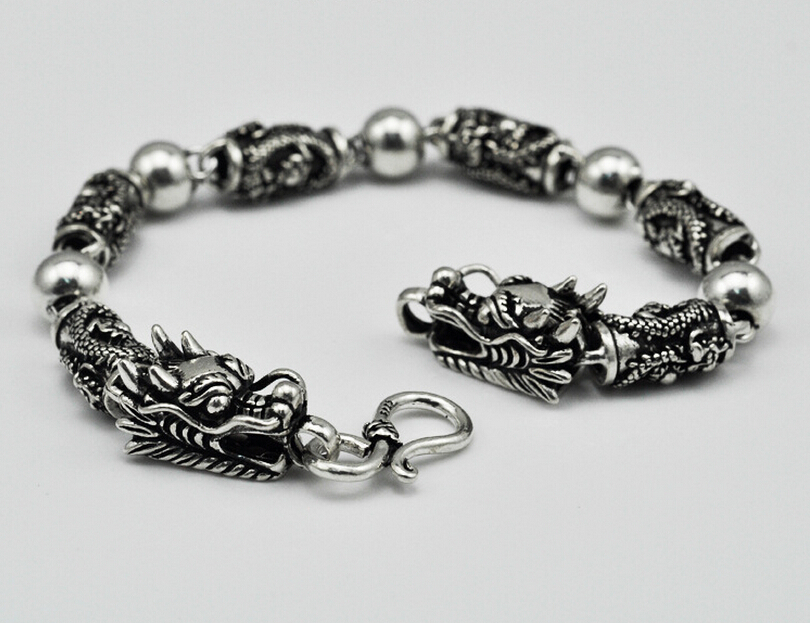 Thai silver bracelet domineering personality two dragons playing with a ball 925 sterling silver vintage Chain & Link bracelets