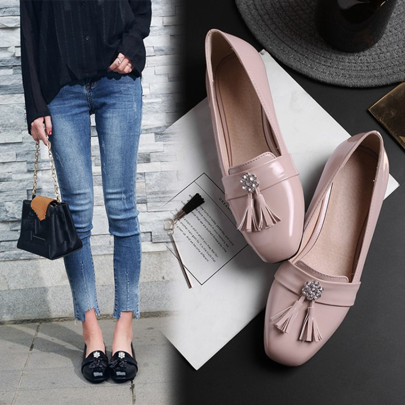 Plus Size 34 47 Fashion Women Casual Tassel Square Toe Oxford Shoe Flats Comfortable Fringe Shallow Slip on Driving Office Shoes in Women 39 s Flats from Shoes