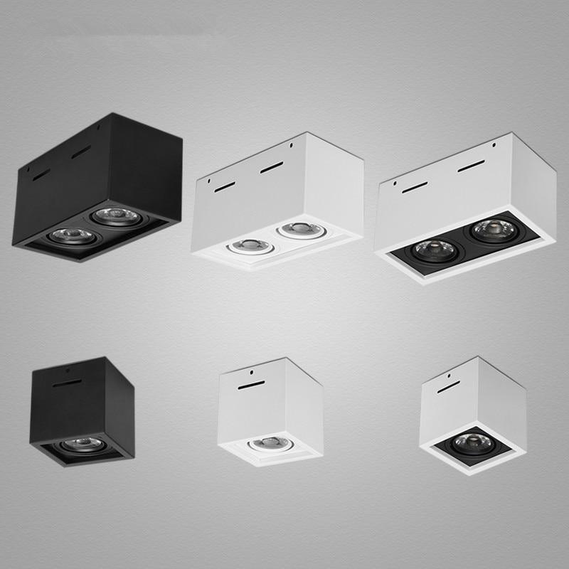 1 pcs branco preto de alta qualidade ajuste de montagem em superficie led cob downlights pode
