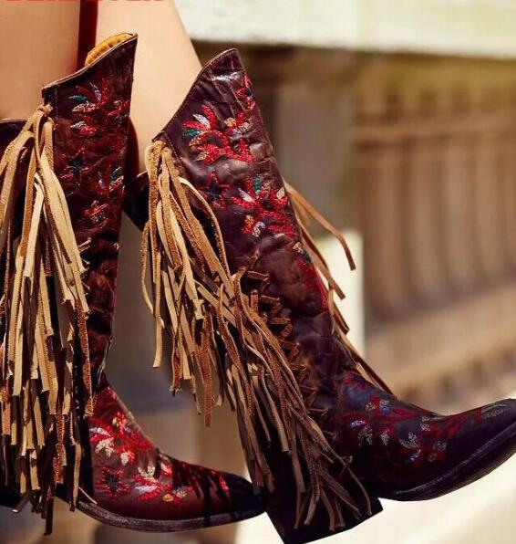 Free Style Red Embroidery Flowers Women Fringe Boots Dark Brown Leather Point Toe Cowboy Boots Ladies Fashion Knee High Boots a three dimensional embroidery of flowers trees and fruits chinese embroidery handmade art design book