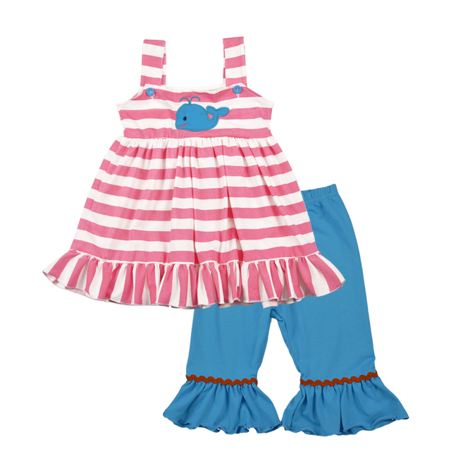 Fashion New Design Toddler Girls Clothing Set Summer Embroidery