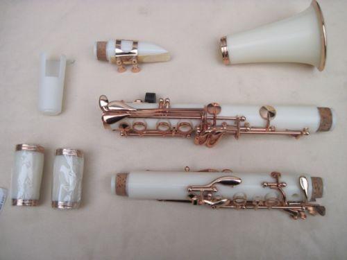 white Clarinet kit Bb 17 key plating Nickel key цена