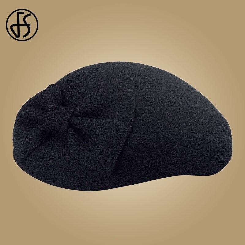 Image 5 - FS Black Fascinator 100% Wool Pillbox Hats For Women Fedora Elegant Ladies Felt Bowknot Wedding  Derby Tea Party Church Hat-in Women's Fedoras from Apparel Accessories