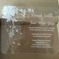 Sample Order For Laser Engraving Clear Acrylic Wedding Invitation Card With Beautiful Rose Elements 3mm Thickness