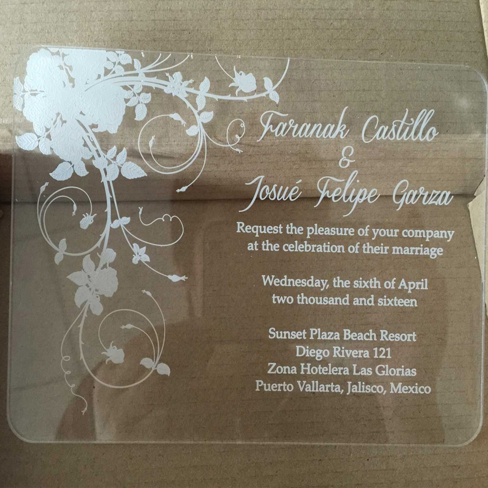 Sample Order For Laser Engraving Clear Acrylic Wedding
