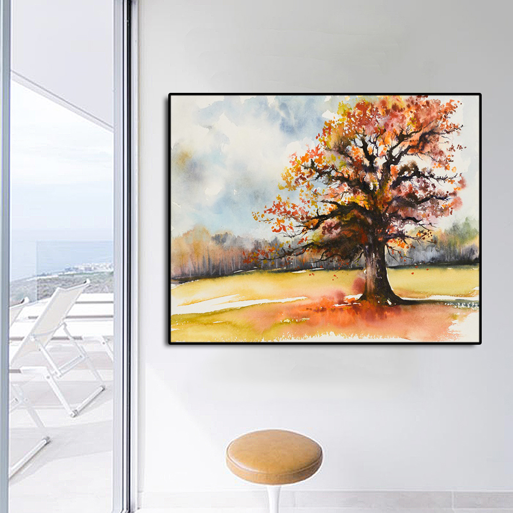 Watercolor Tree Famous Oil Painting Wall Art Poster Print Canvas Calligraphy Decor Picture for Living Room Home