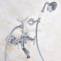 Chrome Bath Faucets Wall Mounted Bathroom Basin Mixer Tap With Hand Shower Head Bath & Shower Faucet lna720