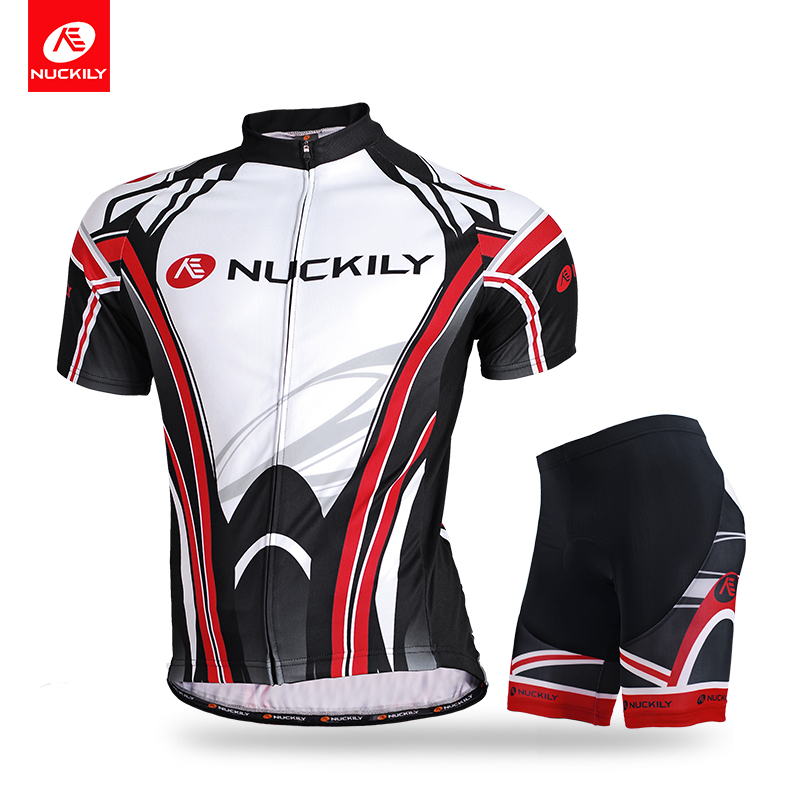 NUCKILY Summer Cycling Jersey Set Men Short Sleeve Quick Dry Bicycle Shirt And Shorts MA008MB008