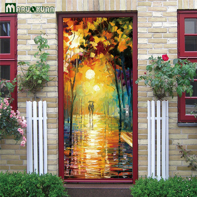 Maruoxuan 3D Doors Parachute Couples Oil Painting Door Paint Bedroom Living Room Corridor Door Decorative PVC : doors painting - Pezcame.Com