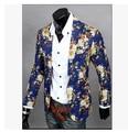 Coreano homens de impressão vestido floral cor do casaco fino masculino trajes boate