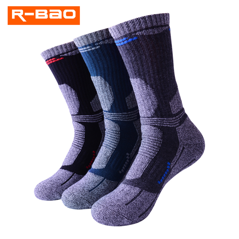 3 Pairs/Lot R-BAO 2018 New Thicken Outdoor Skiing Socks Men Breathable Thermal Terry Hiking Socks Male Mountaineer Sports Socks