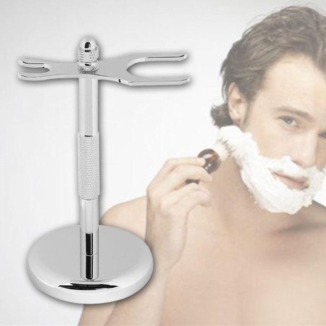 Practical Male Men Barber Chrome Metal Shaving Brush Razor Drip Stand Holder