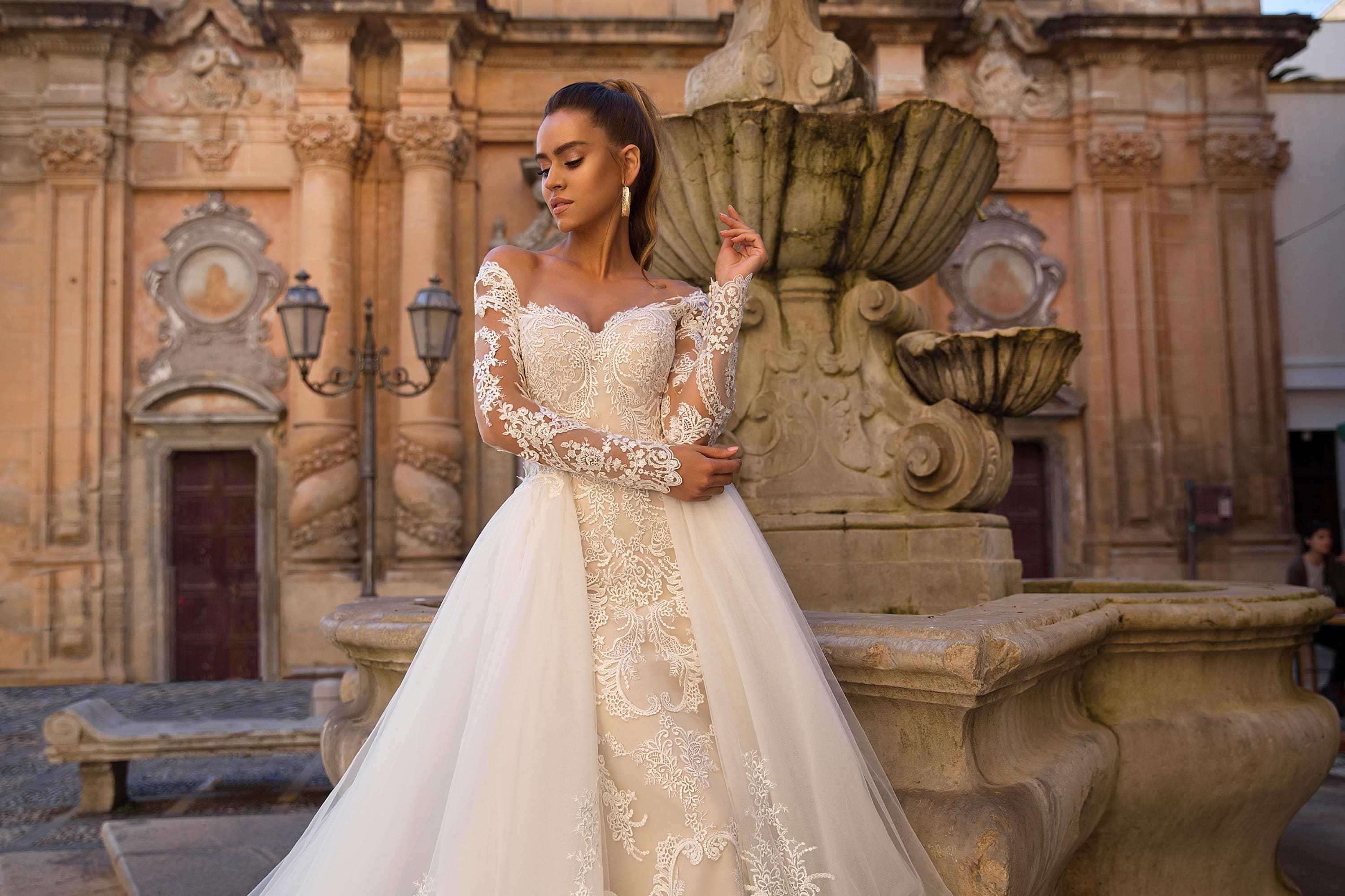 Vestidos de novia sirena con tren desmontable 2020 ilusión escote manga larga encaje vestidos de novia