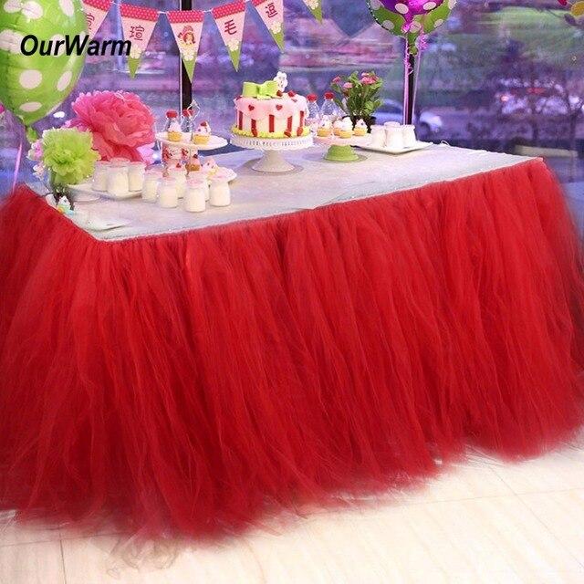 Ourwarm Tulle Table Skirt Tutu Tableware 100 80cm Customize