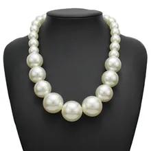 Declaración para mujer Big grandes grano de plata con cuentas collar gargantilla collar de perlas de imitación