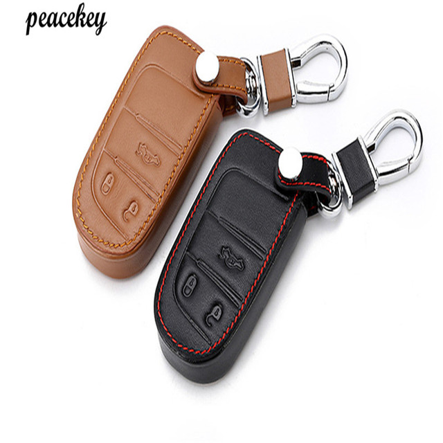 Peacekey Remote Control Leather Key Case For Fiat Jeep Renegade Smart Cover Car