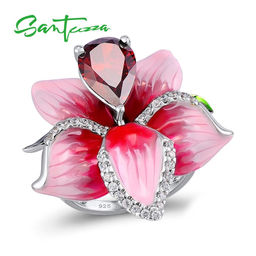 SANTUZZA Silver Flower Ring For Women 925 Sterling Silver Fashion Rings for Women Cubic Zirconia Ringen Party Jewelry Enamel