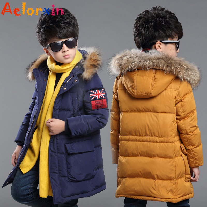 Winter Fur Hooded Jackets for Boys Cotton Padded Coats Thickeing Warm Children Parka Brand Patches Teenage