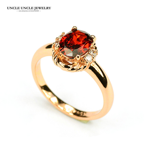 Beautiful Rose Gold Color Austrian Crystal Red Erstwhile Memory Design Lady Finger Ring Wholesale