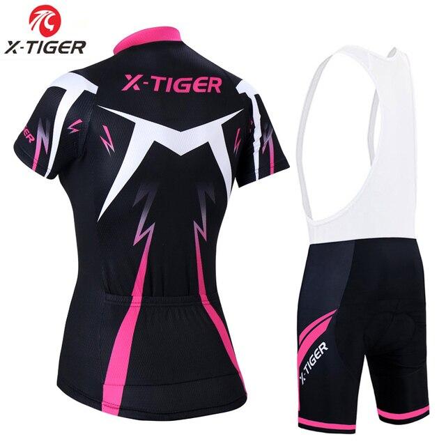 X-tiger conjunto de camisa de ciclismo feminino verão anti-uv ciclismo bicicleta roupas de secagem rápida mountain bike ciclismo conjunto 2