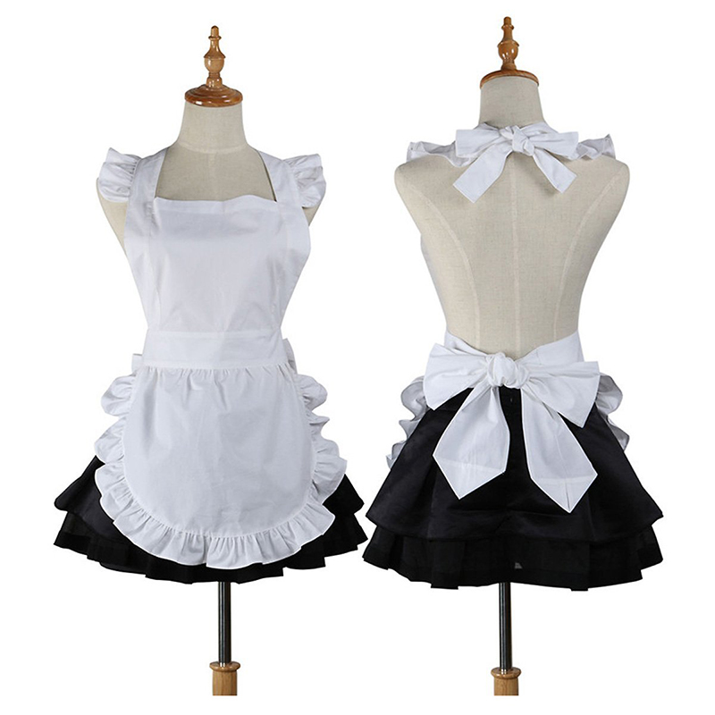 High Quality Cute Cotton Kitchen cooking apron Restaurant Waitress work Apron for Woman Cosplay Maid Costume Gift Pinafore ...