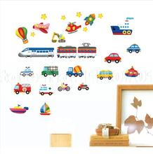 Cartoon car aircraft ship DIY Vinyl Wall Stickers For Kids Rooms Home Decor Art Decals 3D Wallpaper decoration adesivo de parede
