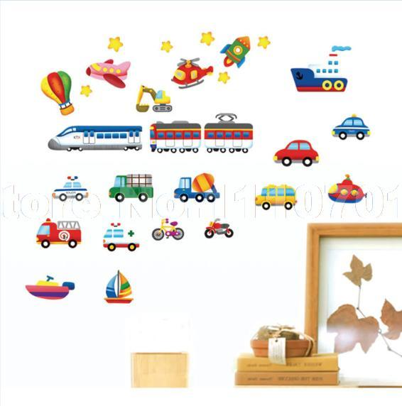 Cartoon car aircraft ship DIY Vinyl Wall Stickers For Kids Rooms Home Decor Art Decals 3D Wallpaper decoration adesivo de parede